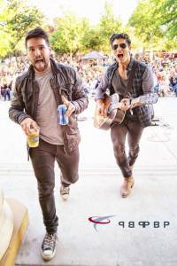 Dan & Shay goofing off after their Hanford, Ca show April 27, 2014 (credit: P Breski)